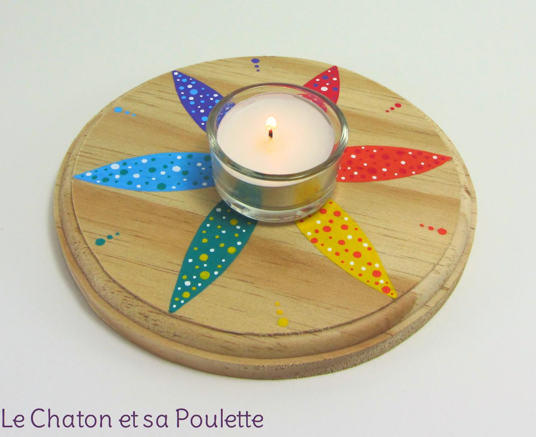 Photophore ÉTOILE (rouge/orange/jaune/vert/bleu/violet) - Le chaton et sa Poulette