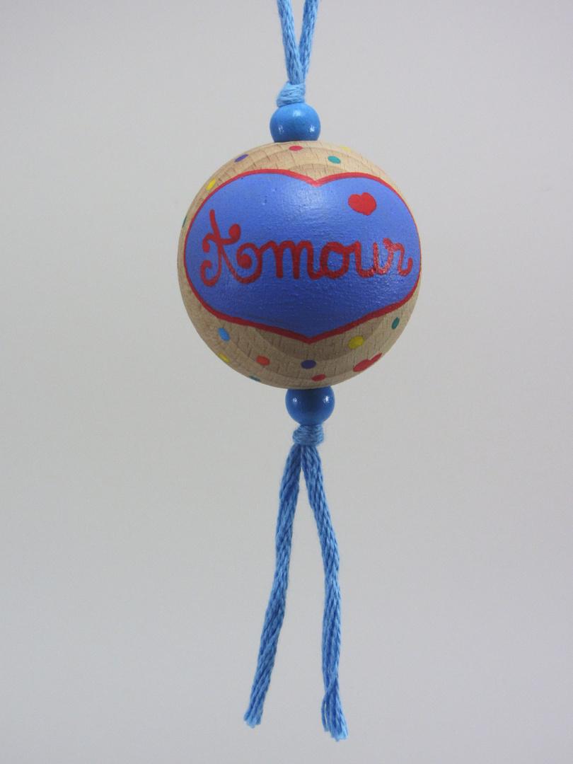 """Boule bleue AMOUR """"cœur contour rouge"""" (bleu/rouge) - Le Chaton et sa Poulette"""