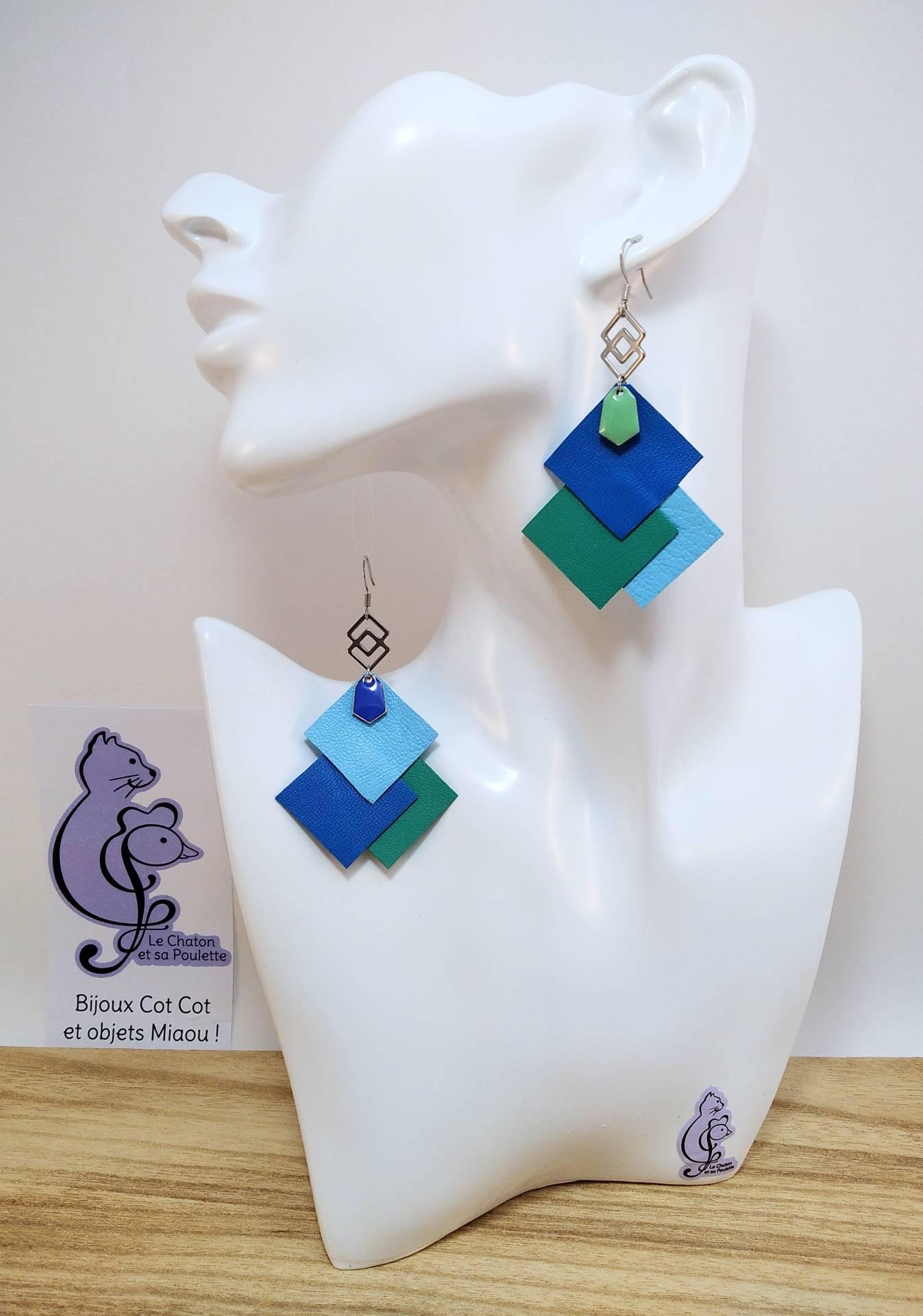 B.O. FORMIDABLE modèle 6 Cuirs bleu cobalt/vert prasin/bleu azur, breloque inox carrés entrelacés et diamant vert d'eau ou bleu cobalt