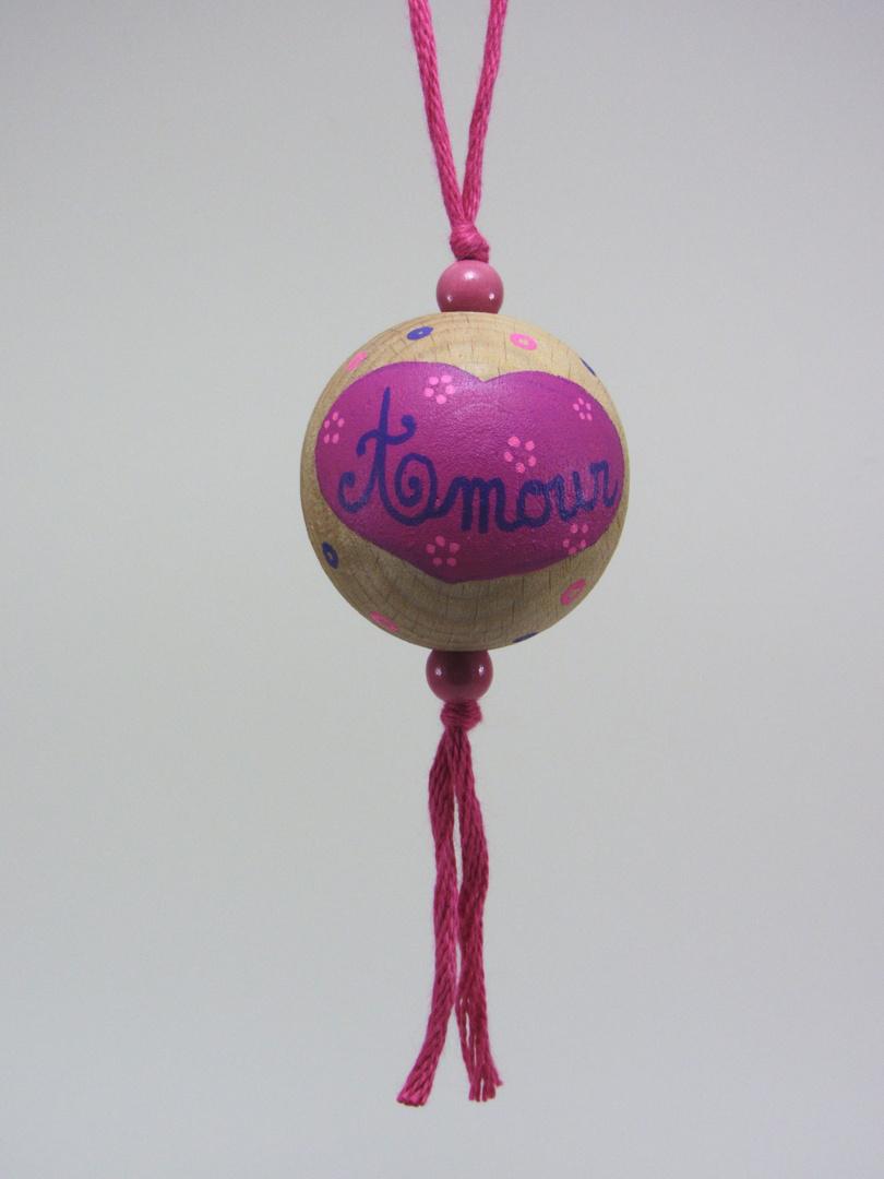 """Boule fuchsia AMOUR """"fleur"""" (fuchsia/rose/violet) - Le Chaton et sa Poulette"""
