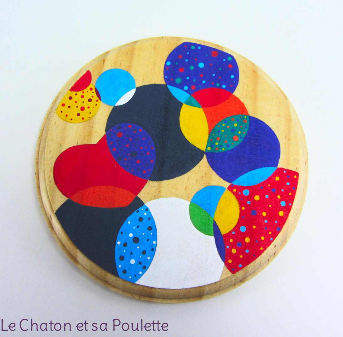 VENDU - Photophore CŒUR DE BULLES (rouge/orange/jaune/vert/bleu/violet et gris) - Le chaton et sa Poulette