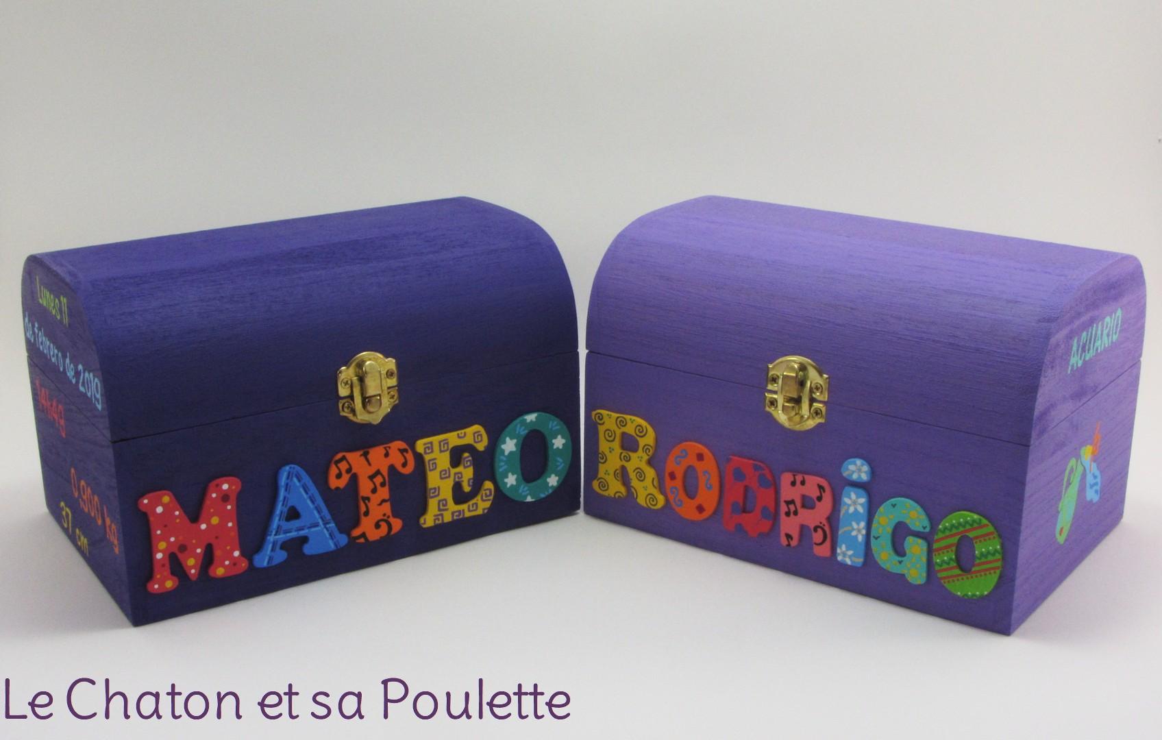 Coffrets violet et lilas, prénoms décorés Mateo et Rodrigo