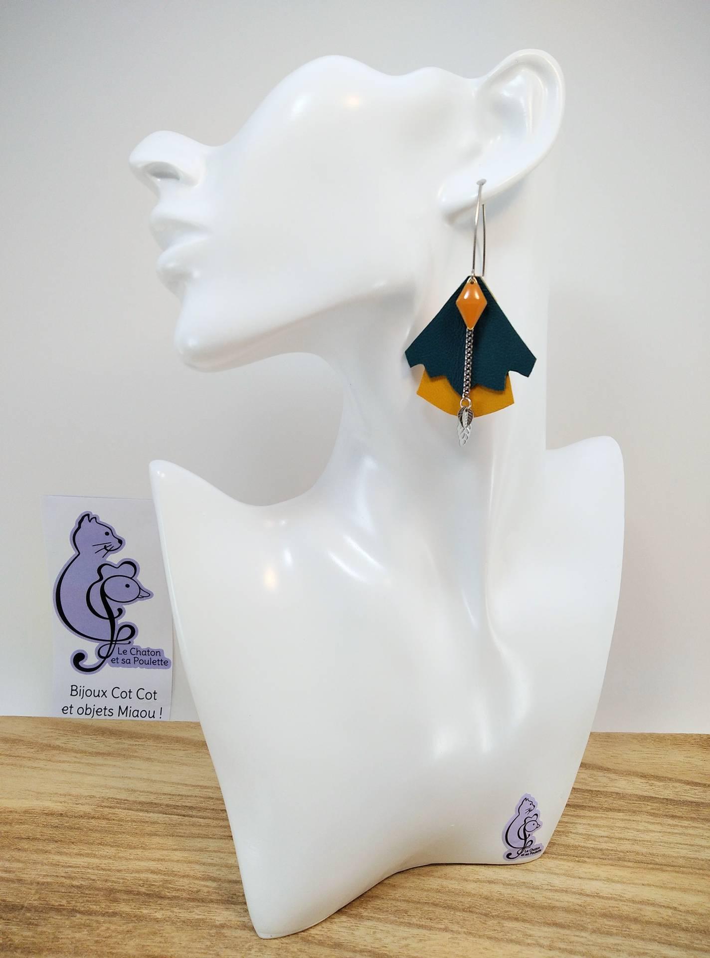 BO FORMIDABLE modèle n°5 Cuirs vert émeraude et ocre, breloque diamant moutarde