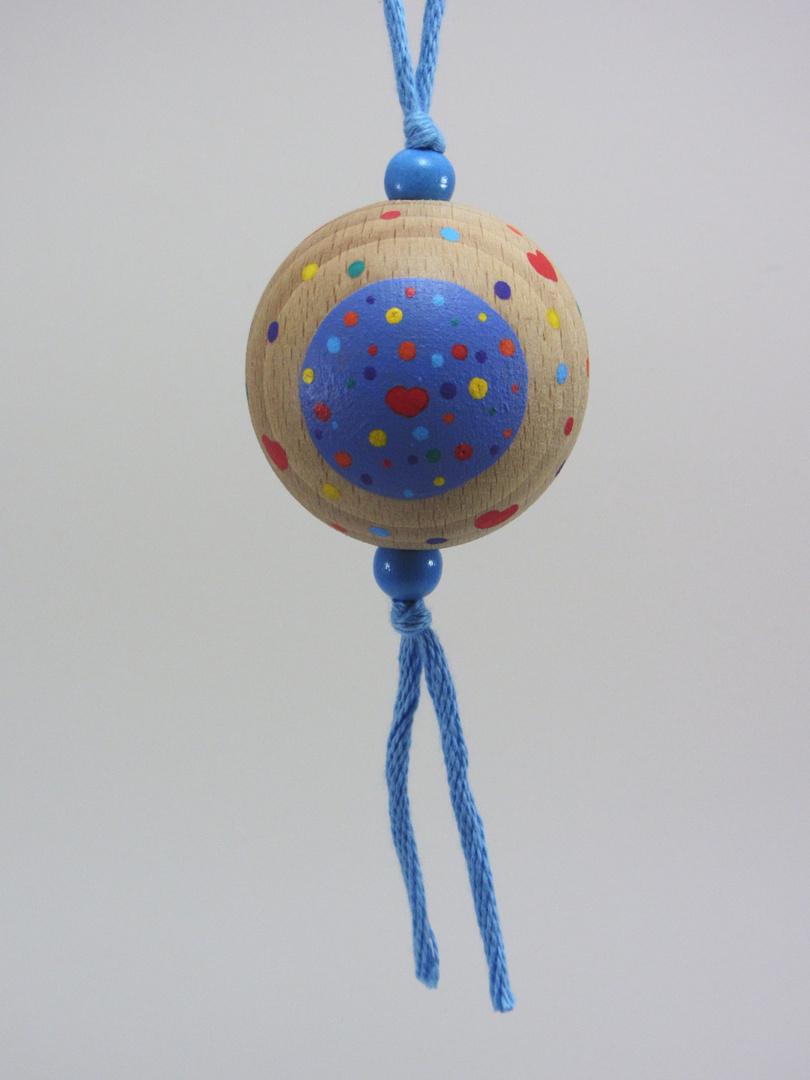 """Verso Boule bleue AMOUR """"cœur contour rouge"""" (bleu/rouge) - Le Chaton et sa Poulette"""