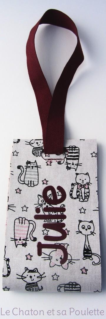 Porte-étiquette tissu Des chats et des étoiles