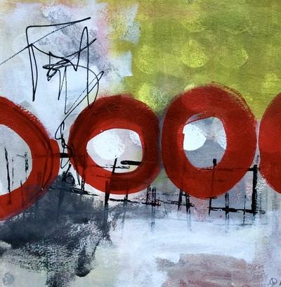 """""""FEUER UND FLAMME"""" Acryl auf auf Aquarellpapier auf Holz aufgezogen 30x30 cm CHF 450.00"""