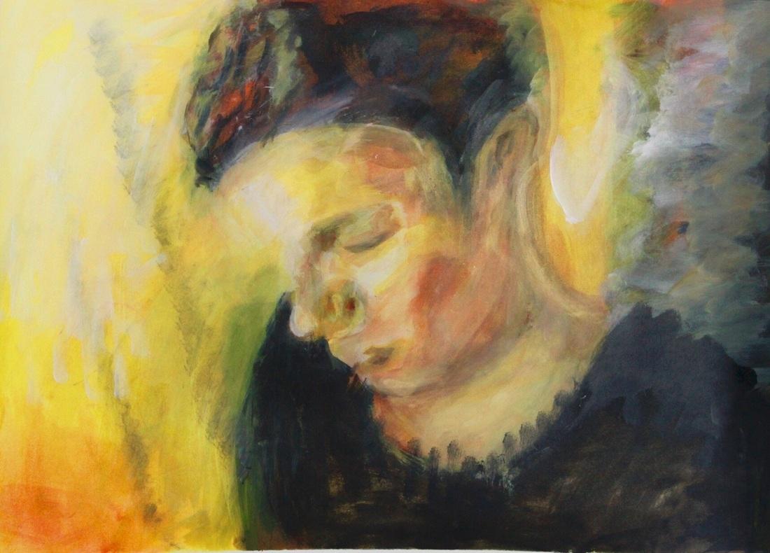 """Mischtechnik auf Aquarellpapier 59x42 cm """"Portrait2"""""""