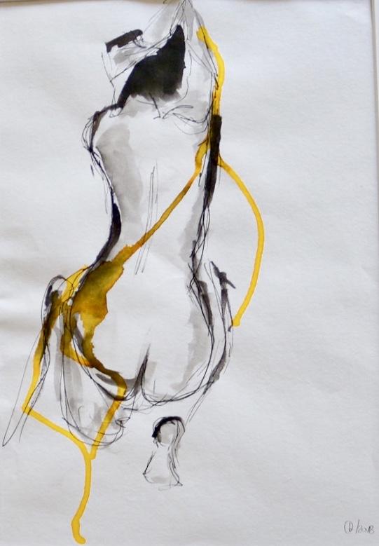 """Tinte und Ecoline auf Papier """"Körpergefühl"""""""