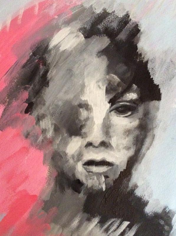 "Acryl / Tinte auf Aquarellpapier 23x31 cm ""Portrait3"""