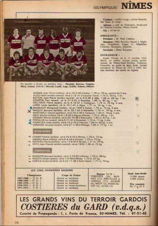 Football 73, recueil édité par l'Equipe et qui synthétisait chaque saison les effectifs pros.