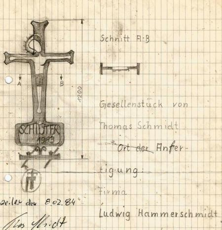 Entwurf des Gesellenstücks von Thomas-Maria Schmidt 1983