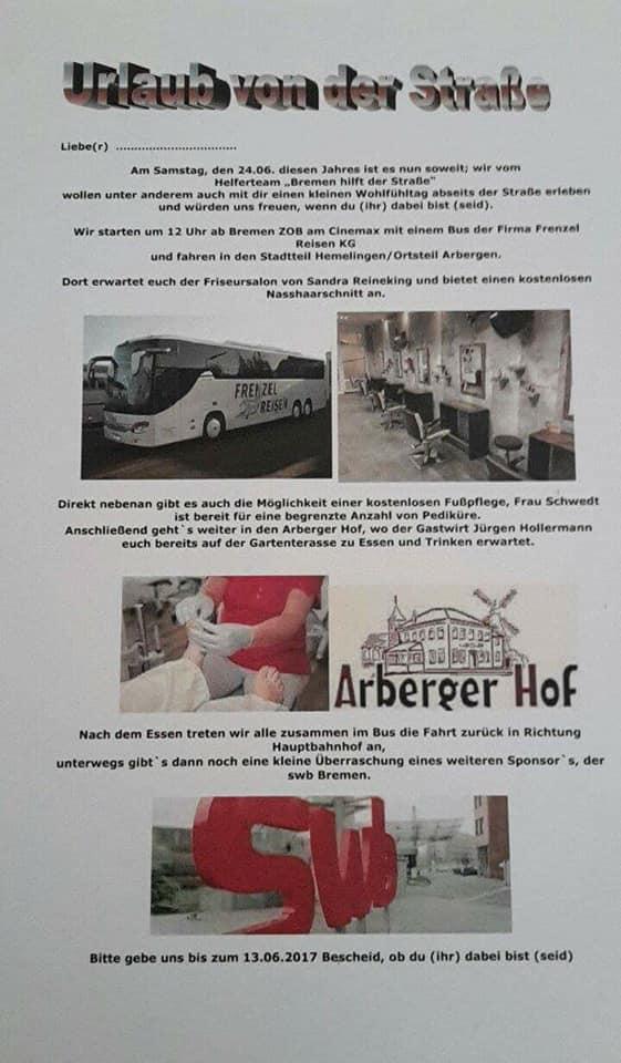 """Wir waren Teil der dauerhaften Aktion """"Bremen hilft der Straße"""""""