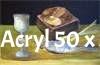 Stilleben, Brot und Fisch, Acryl 40 x 50