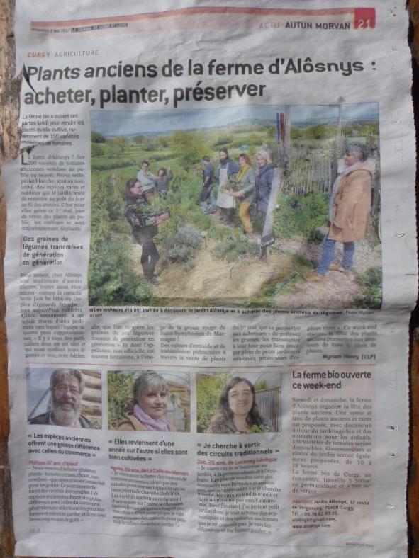 Alôsnys dans le Journal de Saône et Loire pour la fête des plants