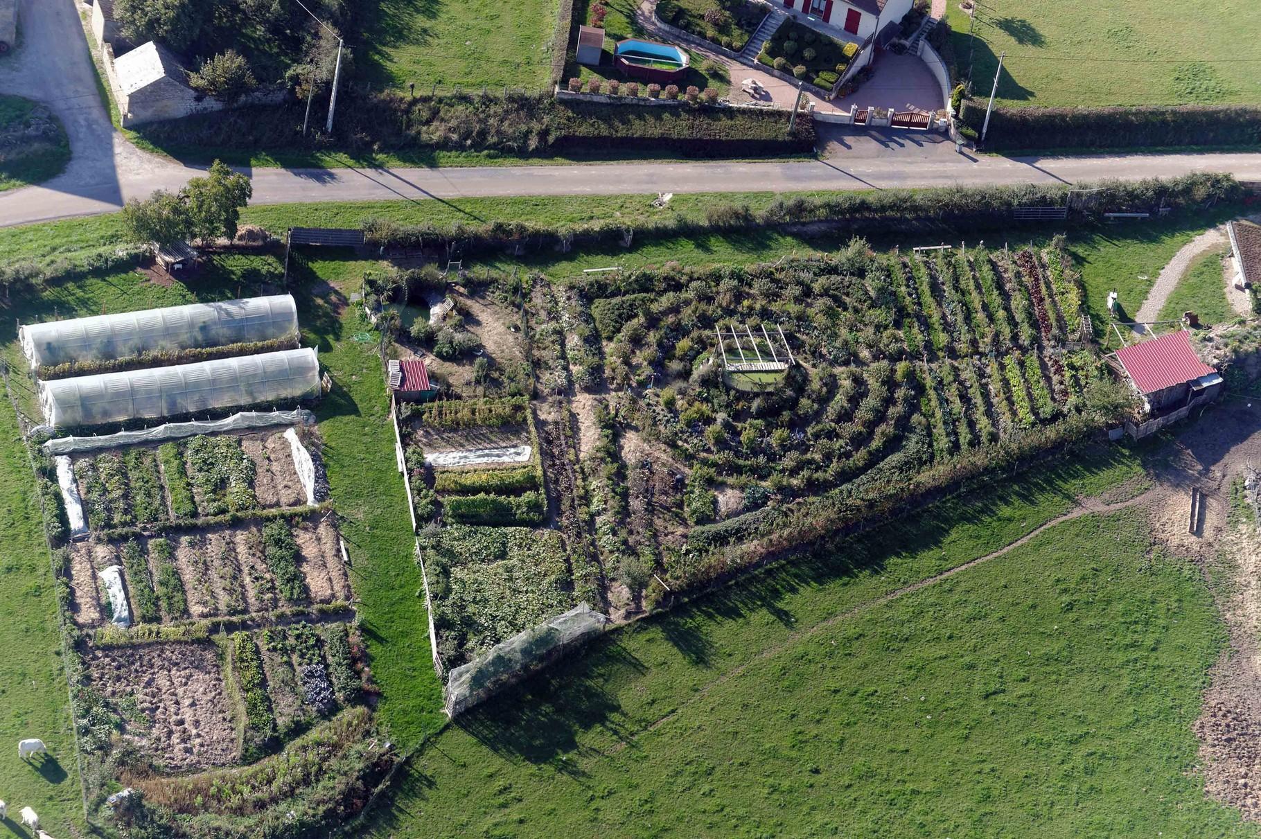 Jardin mandala cultivé en permaculture en Bourgogne