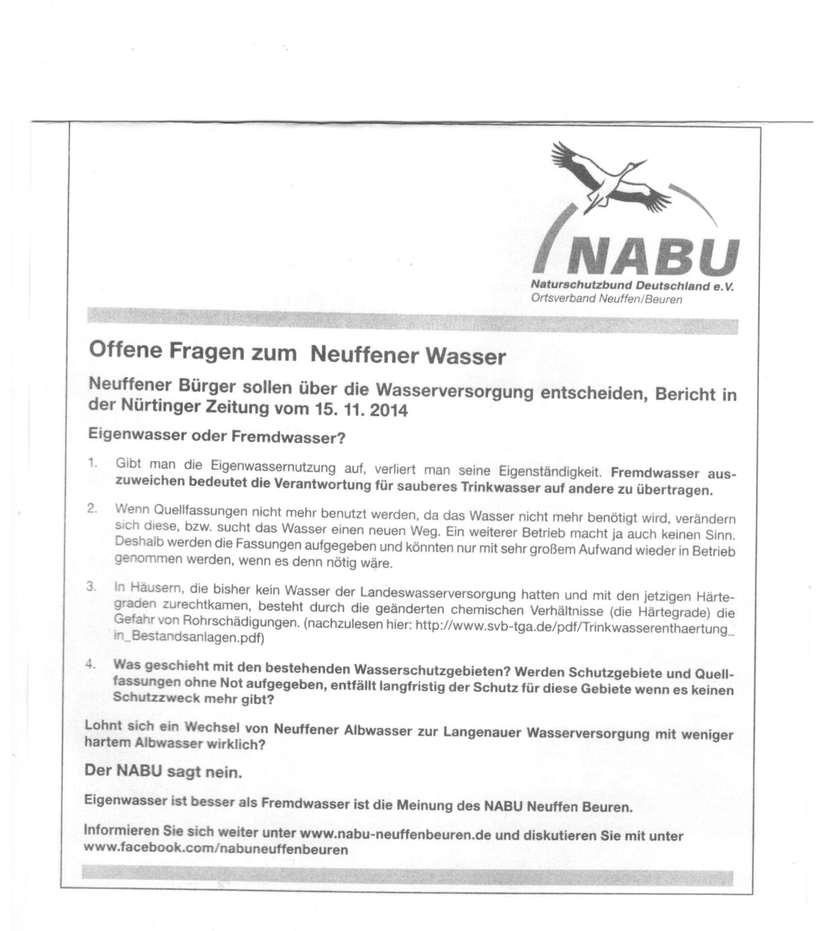NABU Anzeige im Neuffener Stadtanzeiger