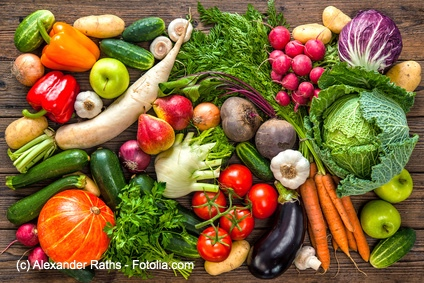 Auf Deinem Speisezettel sollten überwiegend frisches Obst, Gemüse und gute Fette stehen.