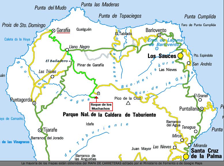 Abb.2. Lage des Roque de Los Muchachos. (Source: Mapa de carreteras, editado por el Ministerio de Formento o de Googgle Maps