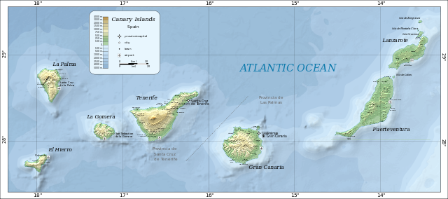 """Map of the Canary Islands"" von Oona Räisänen (Mysid)  Wikimedia Commons - http://commons.wikimed"