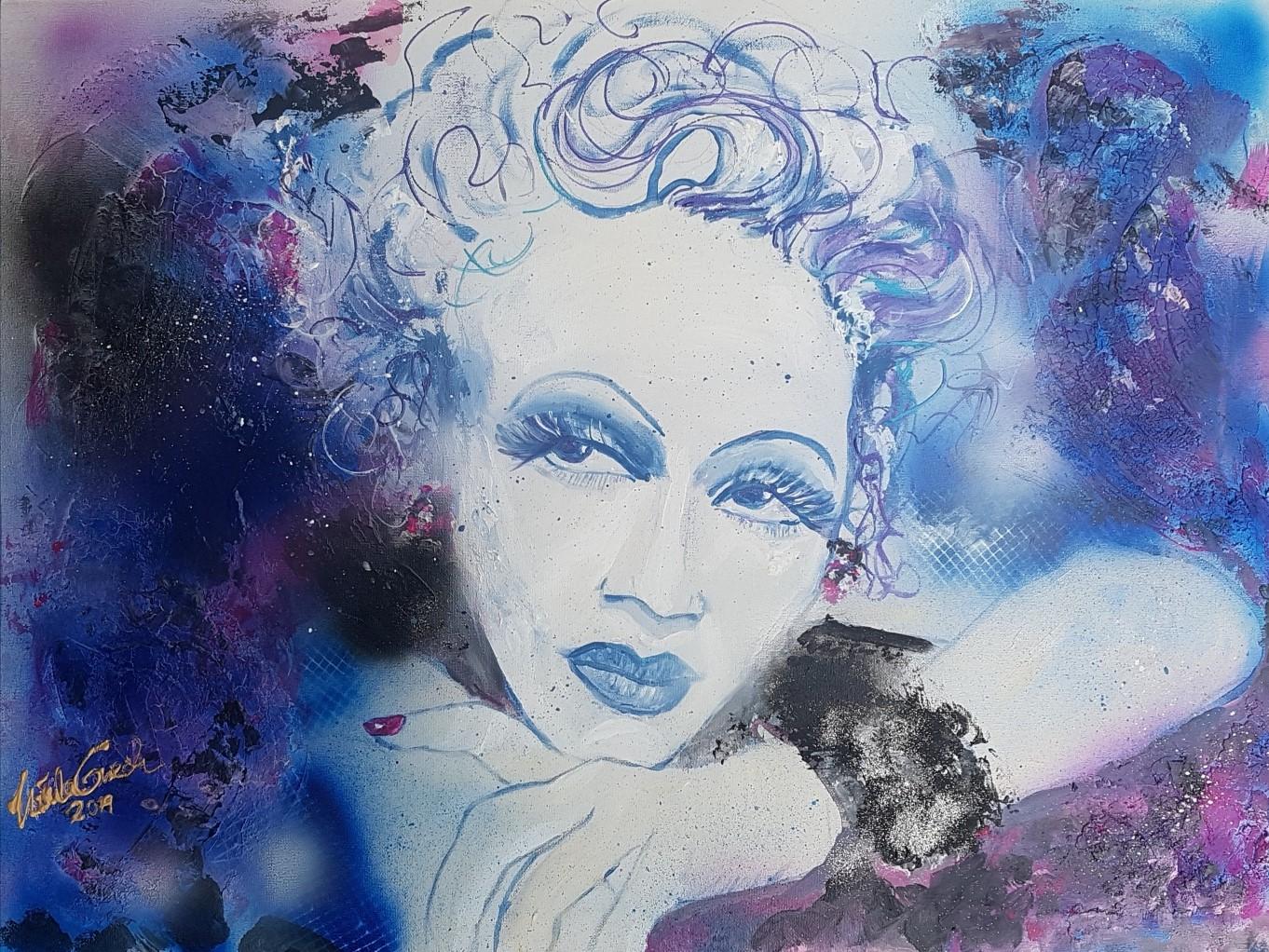 Marlene Dietrich forever  auf Leinwand (Technik: Acryl/Mixed Media) 60 X 80 cm) ,