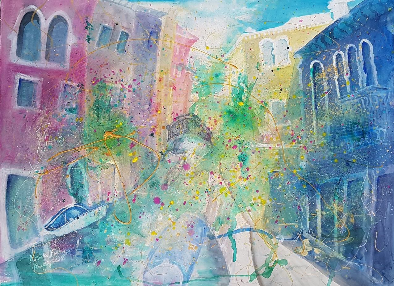 In love to the city of love: Venice (Technik:  Watercolor/Mixed Media auf Fabrianto 650 g Satina 76 X 56 cm)