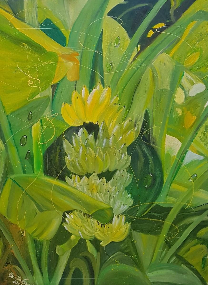 The wonder of nature  (Technik: Öl/Acryl/Mixed Media auf Leinwand 90 X 120 X 2 cm)