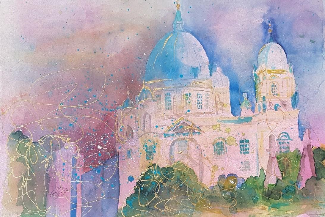 Ich hab noch einen Koffer in Berlin (Watercolor)  auf Fabriano 650 g sat.