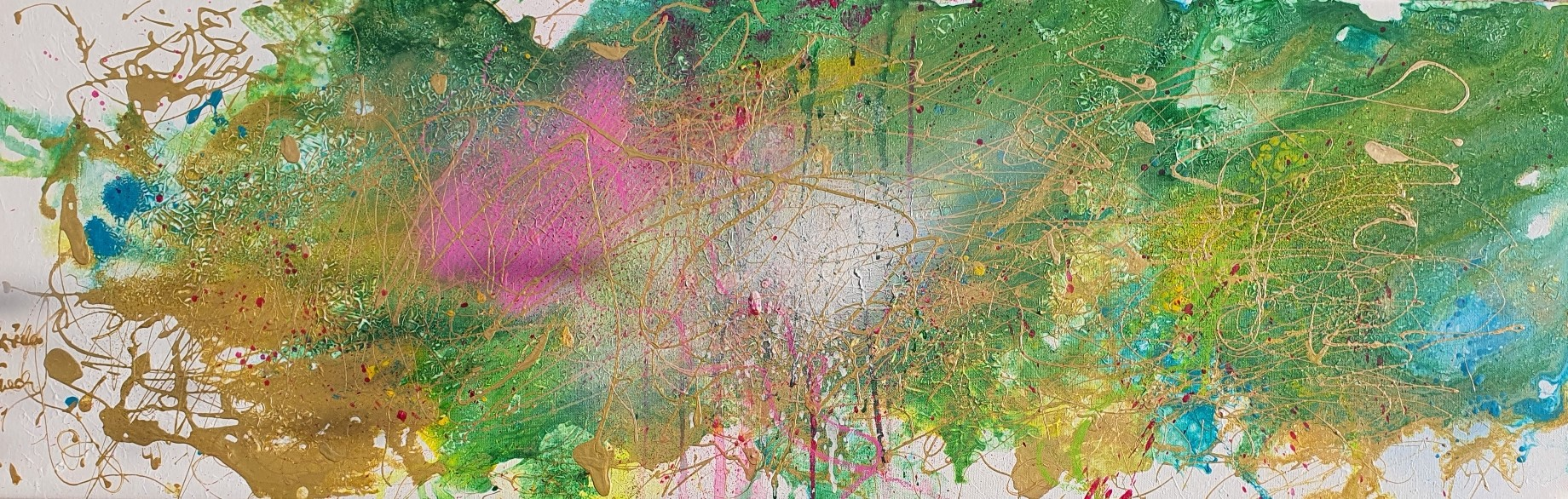 The world after Corona  (Acryl/Mixed Media on Canvas 40 X 1,5 X 120 cm)