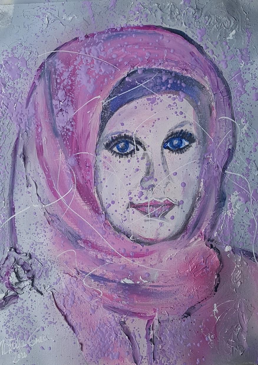 """""""Beauty in Pink (30 X 40 X 0,1 cm) auf Acryl-Papier)"""