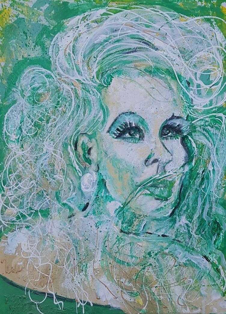 La femme fatale (Technik: Acryl/Mixed Media auf Leinwand 30 X 40 X 1,5 cm)