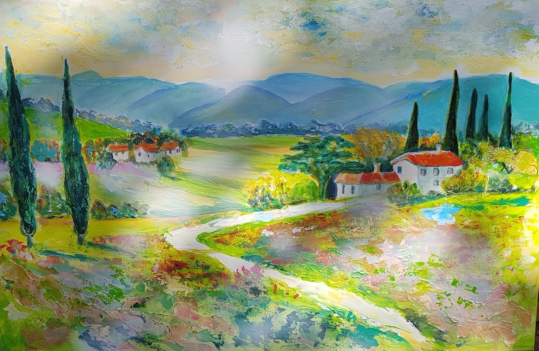 Bella Toscana/Italia (Acryl/Mixed Media auf Leinwand  75/115 cm)