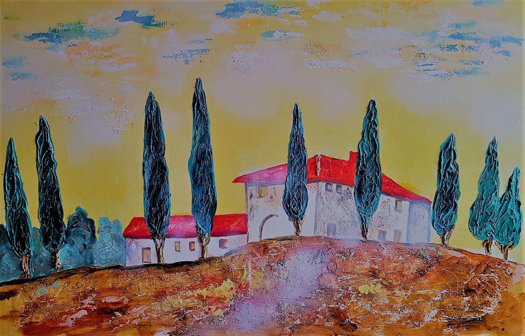 Toscana  landscape view (Acryl/Mixed Media auf Leinwand 75/115 cm)