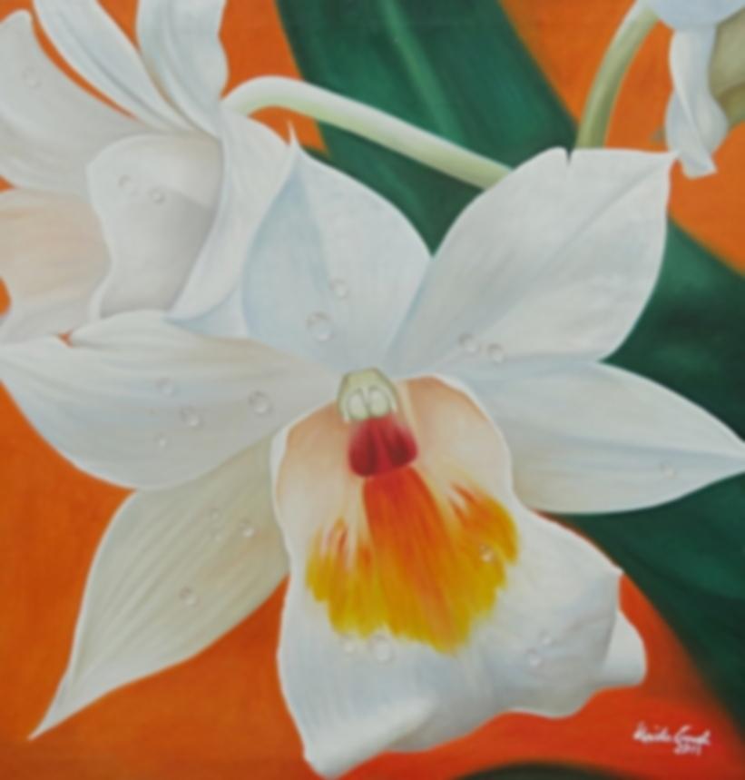Weiße Blüte      (Technik: Öl   auf Leinwand )
