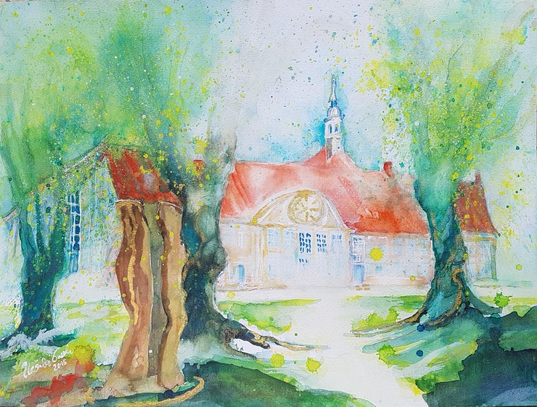 Kloster Frenswegen in der Grafschaft Bentheim (Technik: Aquarell -auf Aquarell-Papier 450 gm, 56 X 42 X 0,1 cm)
