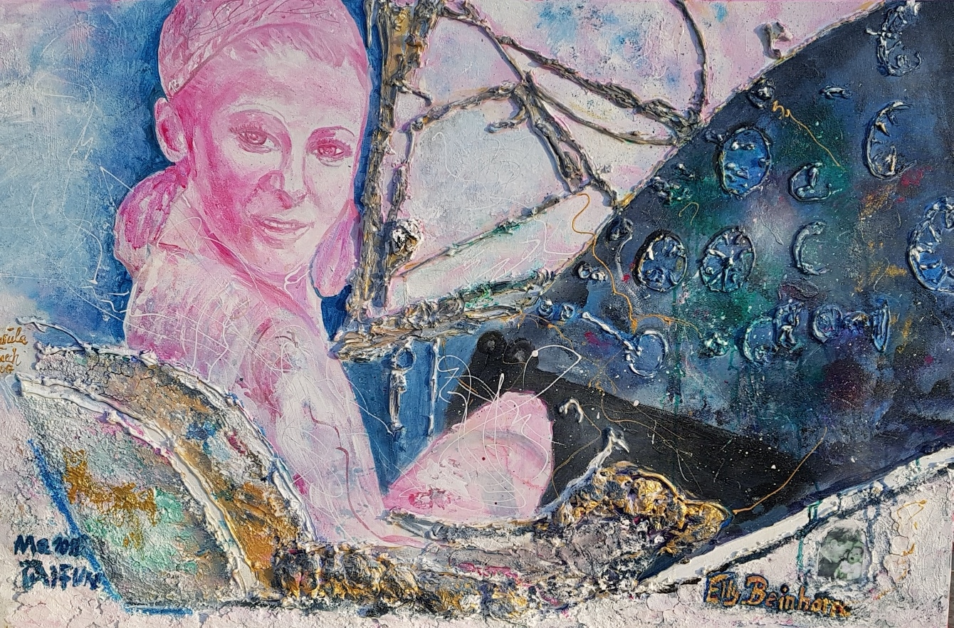 Queen of the air Elly Beinhorn (Rosemeyer) Technik: Acryl/Mixed Media auf Leinwand 75 X 115 X 1,5 cm)