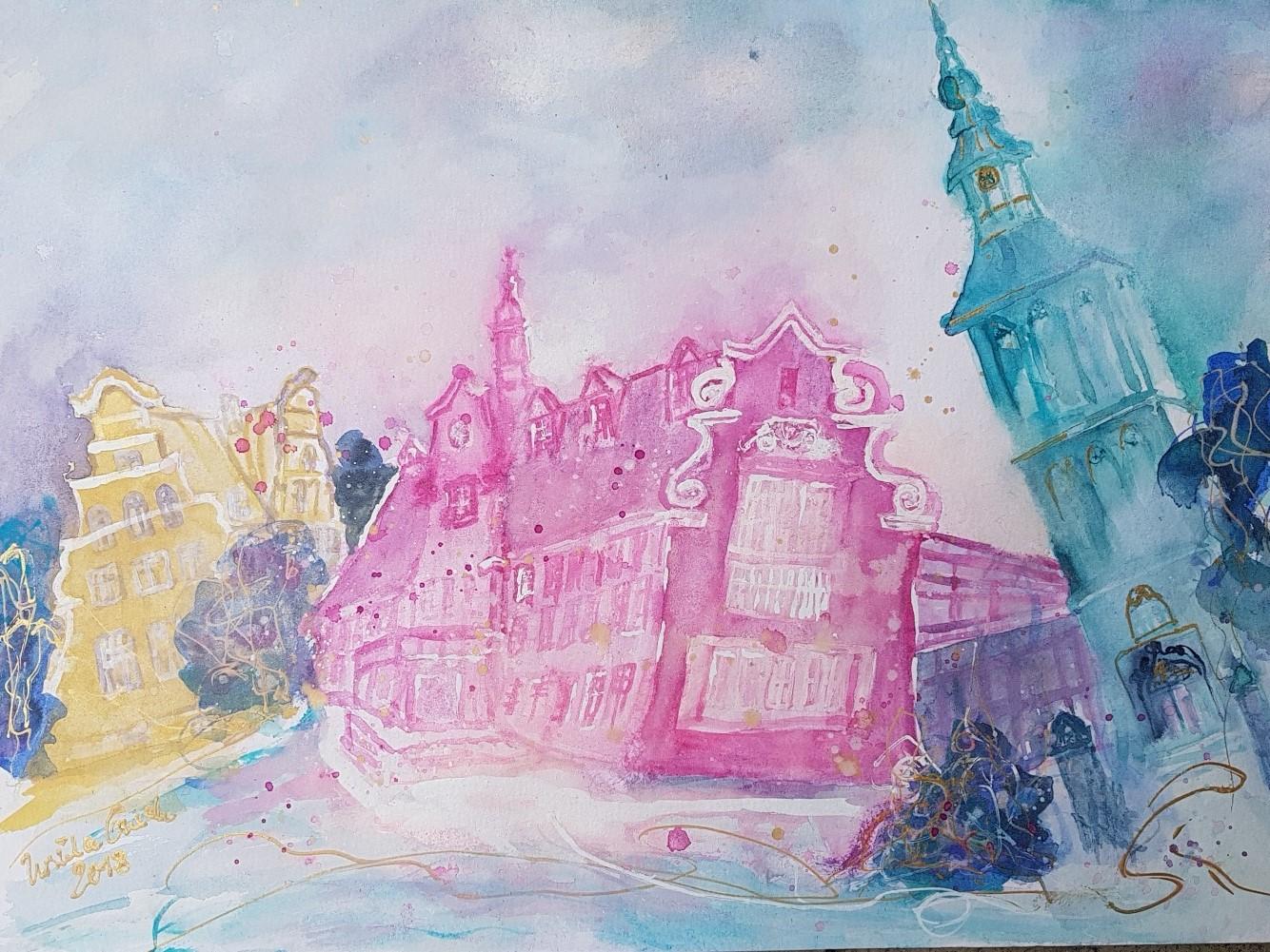 Historische Stadt Nordhorn   (Technik: Aquarell auf Hahnemühle 450 g 42 X 56 cm)