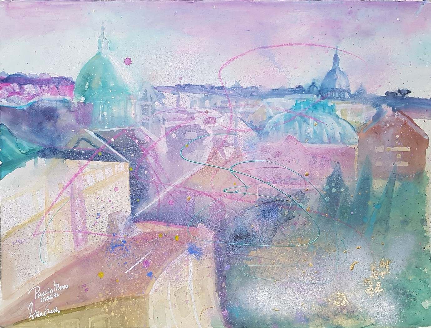 Pincio Roma (Watercolor on Fabriano 650 g : 56 X 76 cm)