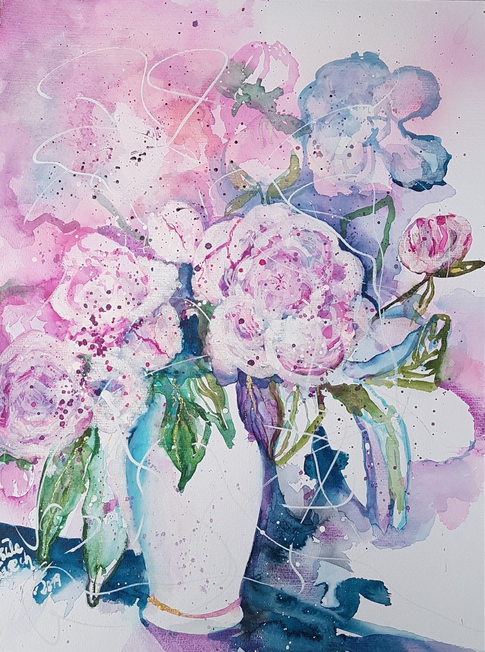 love-story with peonies (Technik: Aquarell pp. auf 450 g Cornwall)