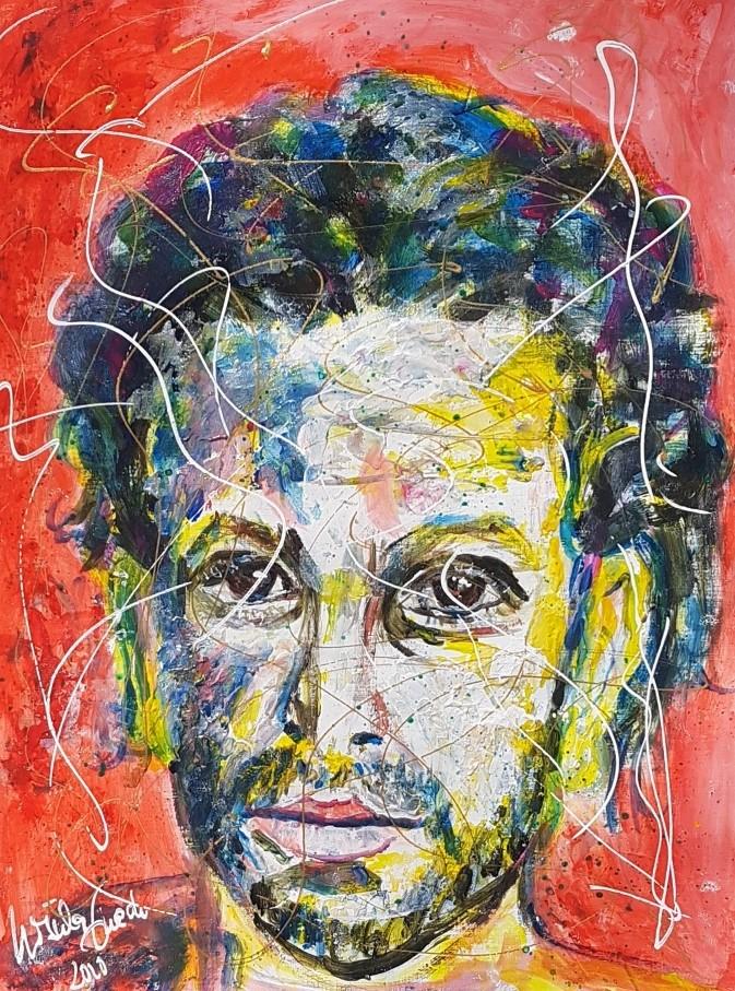 Der schöne Elyas M'Barek (30 X 39,5 X 0,2 cm auf Acryl-Papier)