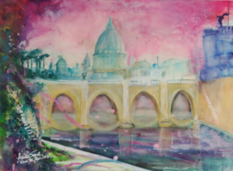 Rom: Ponte San Angelo   (Technik: Aquarell    76 X 56 cm)