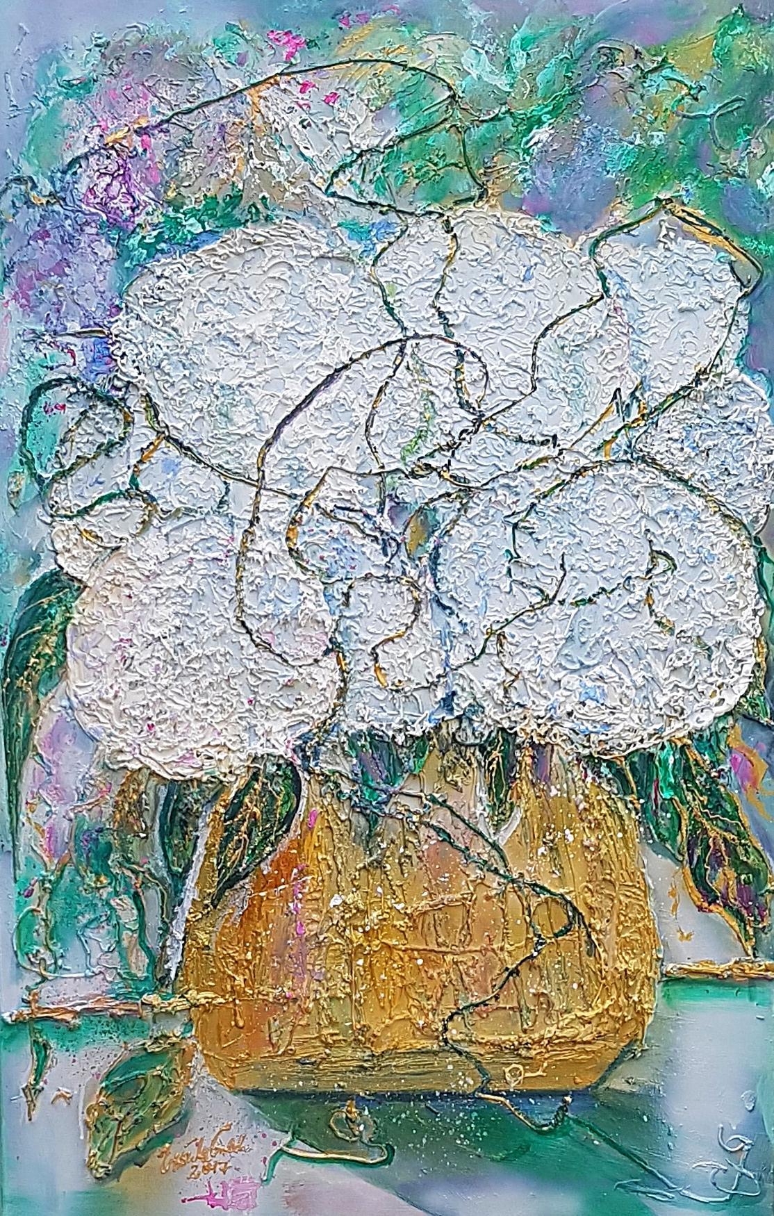 weiße Hortensien in goldener Vase (Technik: Acryl auf Leinwand 75 X 115 cm)