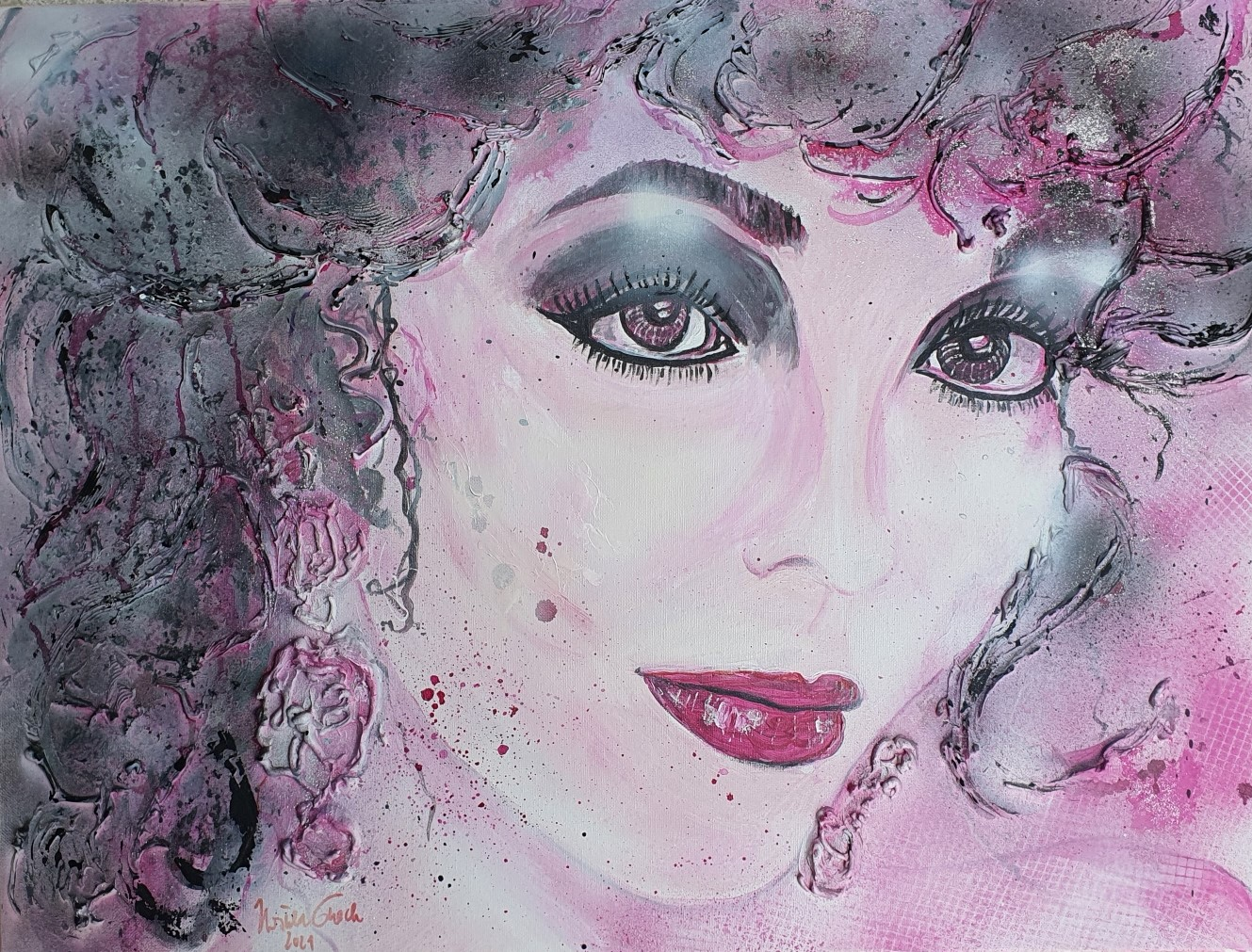 I just called to say I love you/Joan Collins  portrait   (Acryl/Mixed Media) on Canvas 80 X 60 X 2 cm)