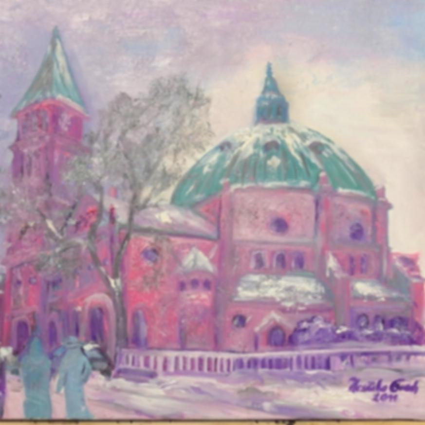 St. Augustinus in Nordhorn  im Winter     (Technik: Öl      Leinwand: 60 X 60 cm)