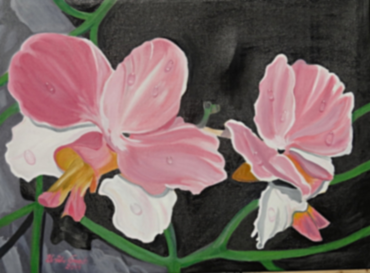 Orchideen     (Technik: Öl    auf Leinwand 1.20 m X 90 cm)