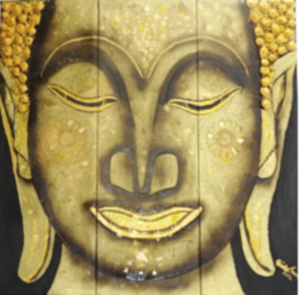 big Buddha       (Technik: Öl und Acryl auf Leinwand   1,20 m X 1,20 m (dreiteilig))