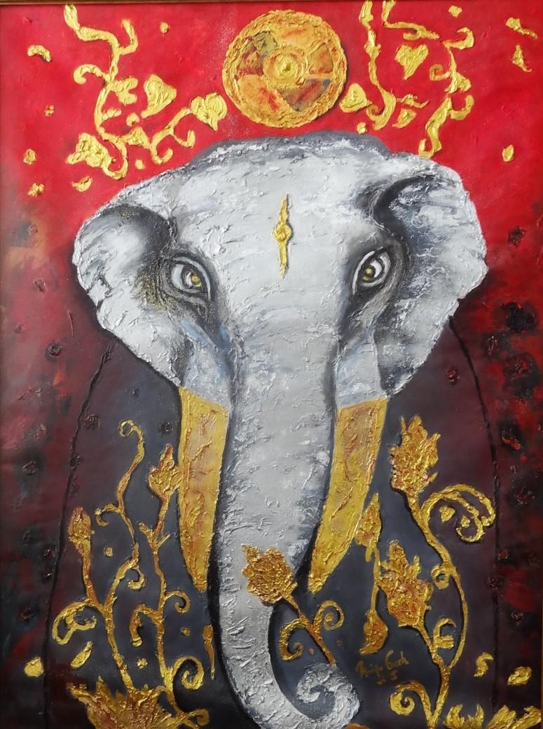 Buddhistischer Elefant (Technik: Öl/Acryl auf Leinwand 1,20 m X 90 cm)