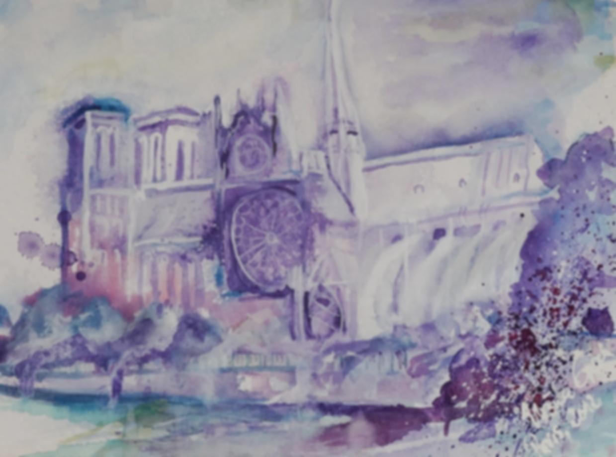 Notre Dame an der Seine in Paris       (Technik: Aquarell auf Fabriano  600 g Satinata    76 X 56 cm)