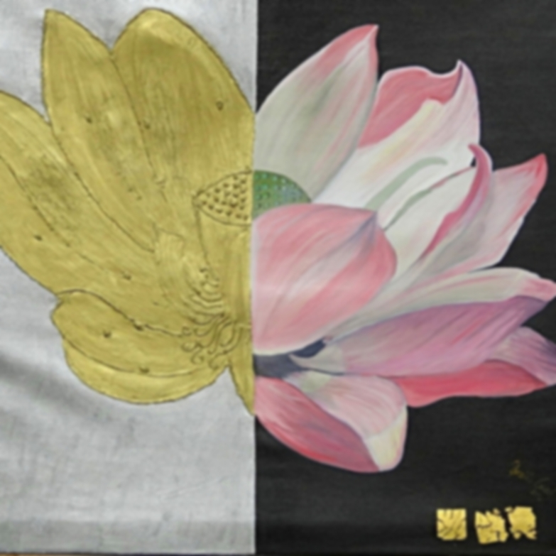 Lotus-Blüte   ( Technik: Öl/Acryl      auf Leinwand )