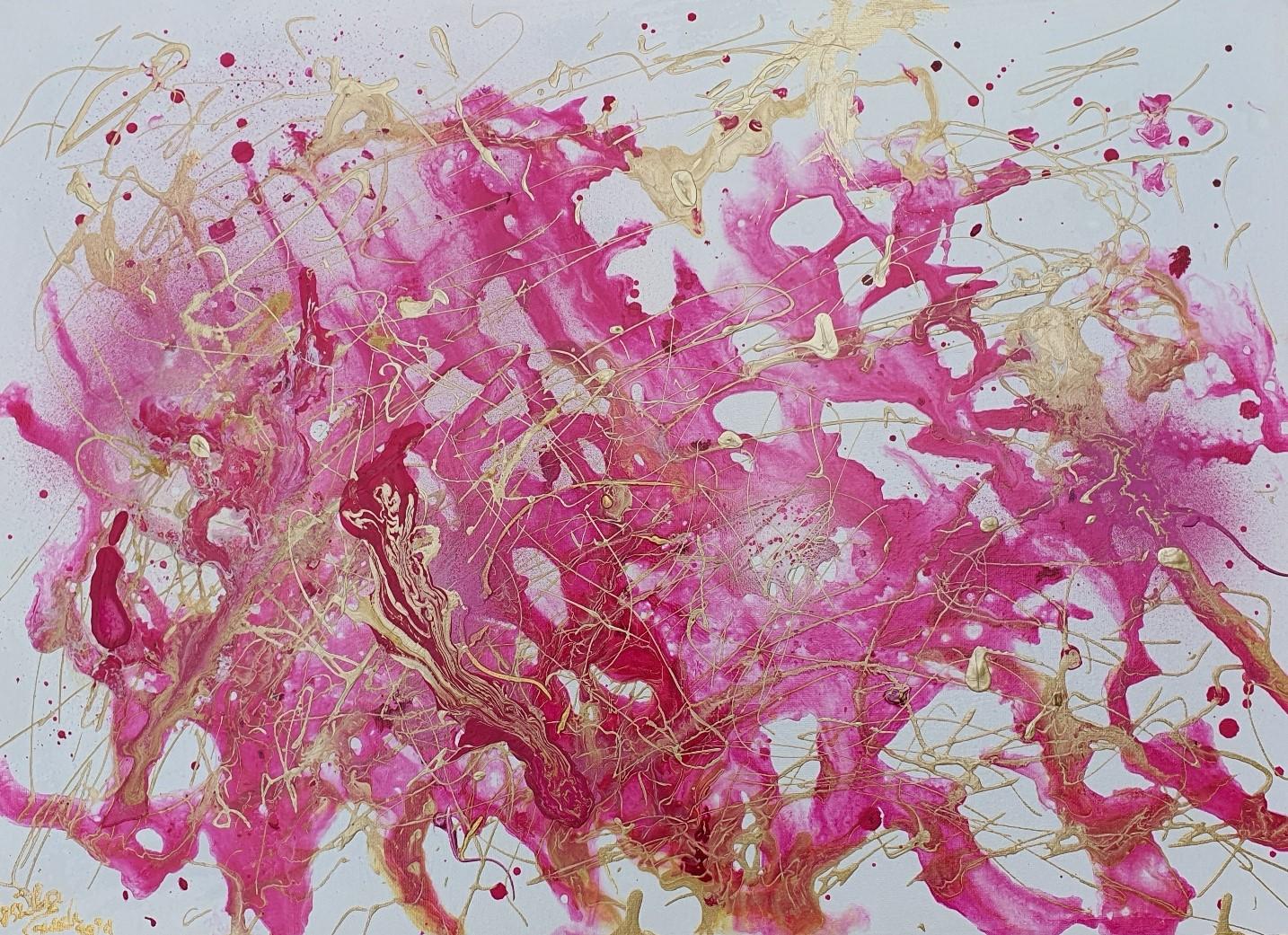 La vie en rose apres Corona (Technic: Mixed Media on Canvas, 50 X 70 X 2 cm)