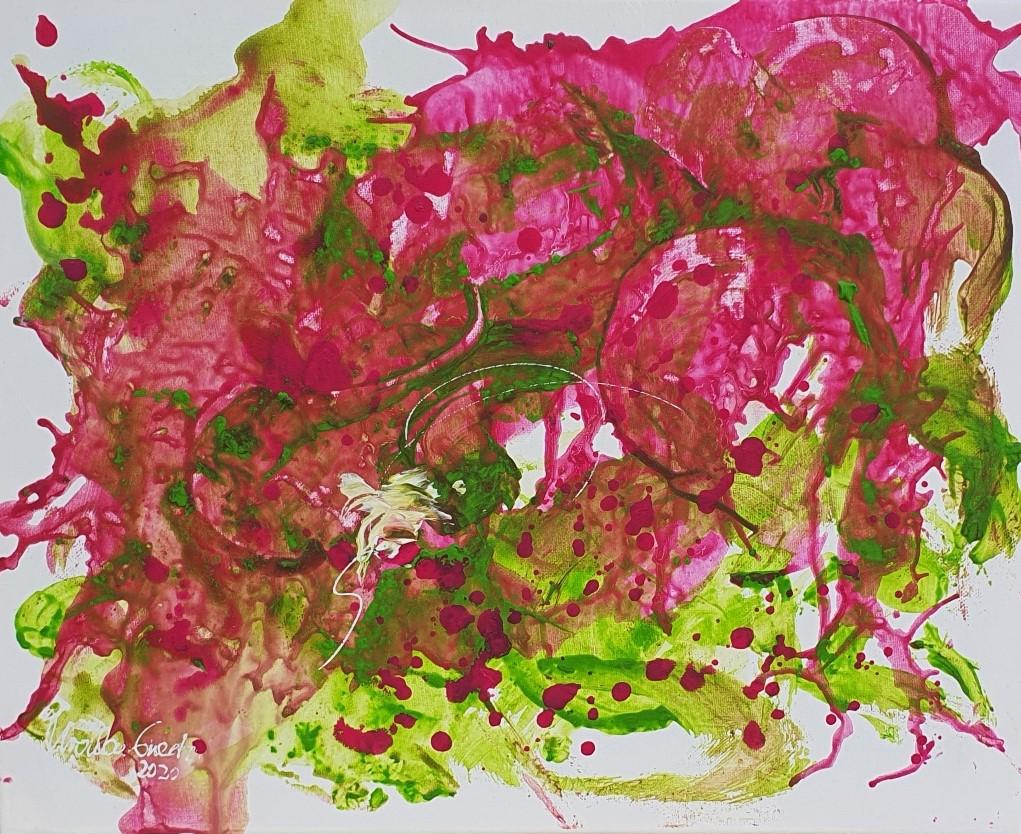 Started with a kiss (Acryl/mixed Media on Canvas 40 X 50 X 1,5 cm)